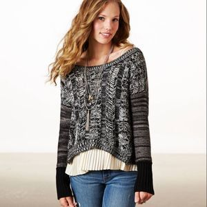 American Eagle M Marled Cable Sweater